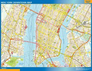 Mapa Nueva York downtown enmarcado plastificado