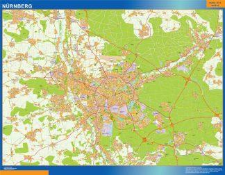Mapa Nurnberg en Alemania enmarcado plastificado
