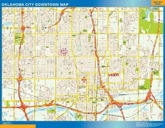 Mapa Oklahoma City downtown enmarcado plastificado