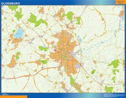 Mapa Oldenburg en Alemania enmarcado plastificado