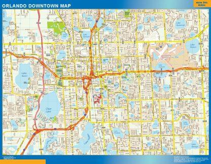 Mapa Orlando downtown enmarcado plastificado