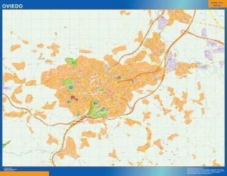 Mapa Oviedo callejero enmarcado plastificado