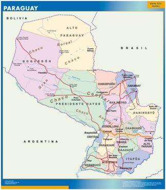 Mapa Paraguay enmarcado plastificado