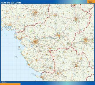 Mapa Pays De La Loire en Francia enmarcado plastificado