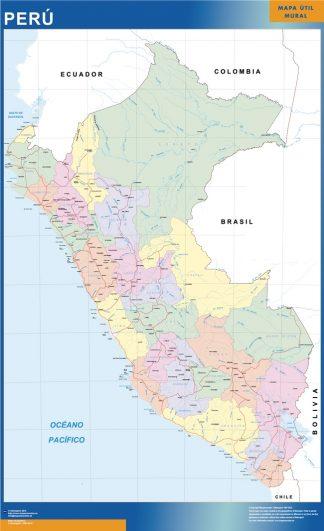 Mapa Peru enmarcado plastificado