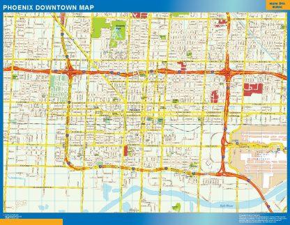 Mapa Phoenix downtown enmarcado plastificado