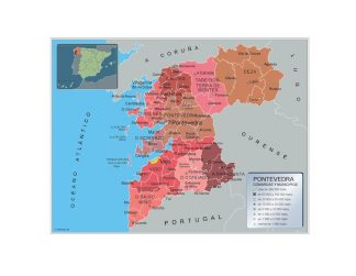 Mapa Pontevedra por municipios enmarcado plastificado
