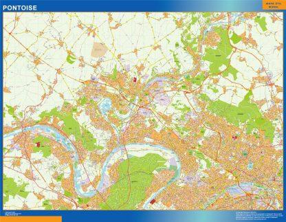 Mapa Pontoise en Francia enmarcado plastificado