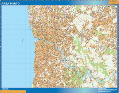 Mapa Porto área urbana enmarcado plastificado