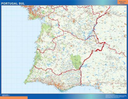 Mapa Portugal sur carreteras enmarcado plastificado