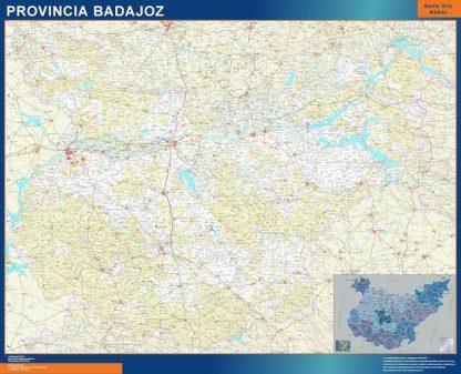 Mapa Provincia Badajoz enmarcado plastificado