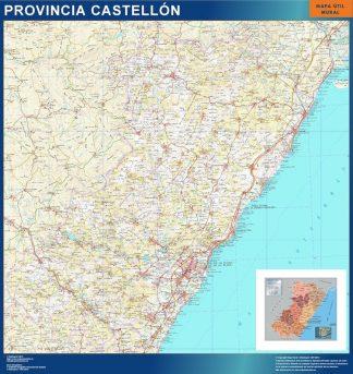 Mapa Provincia Castellon enmarcado plastificado