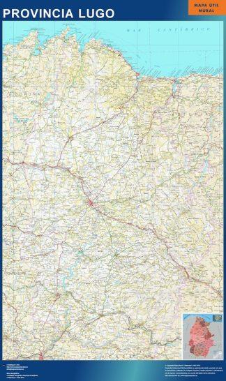 Mapa Provincia Lugo enmarcado plastificado