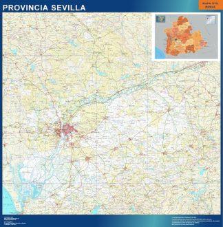 Mapa Provincia Sevilla enmarcado plastificado