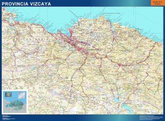 Mapa Provincia Vizcaya enmarcado plastificado