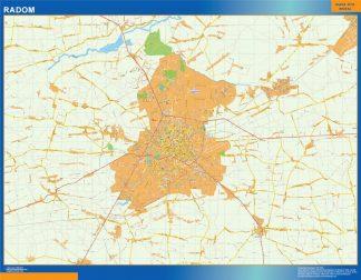 Mapa Radom Polonia enmarcado plastificado