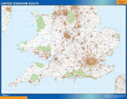 Mapa Reino Unido Sur carreteras enmarcado plastificado