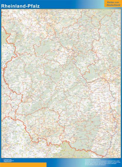 Mapa Rheinland-Pfalz enmarcado plastificado