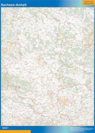 Mapa Sachsen-Anhalt enmarcado plastificado
