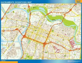 Mapa Sacramento downtown enmarcado plastificado