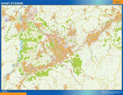 Mapa Saint Etienne en Francia enmarcado plastificado