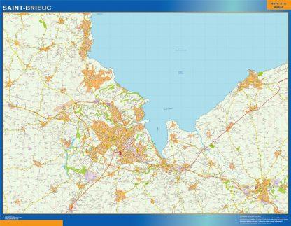 Mapa Saint-brieuc en Francia enmarcado plastificado