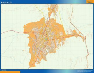 Mapa Saltillo en Mexico enmarcado plastificado