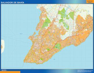 Mapa Salvador Bahia Brasil enmarcado plastificado