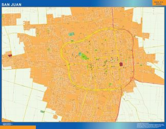 Mapa San Juan en Argentina enmarcado plastificado