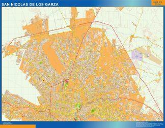 Mapa San Nicolas De Los Garza en Mexico enmarcado plastificado