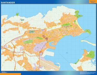 Mapa Santander callejero enmarcado plastificado