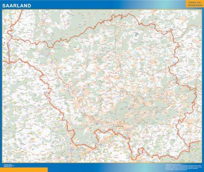 Mapa Sarre enmarcado plastificado