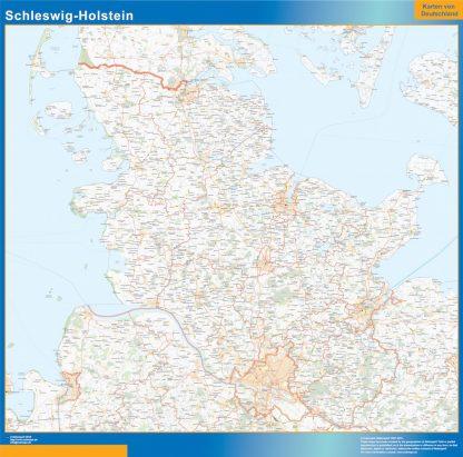 Mapa Schleswig-Holstein enmarcado plastificado