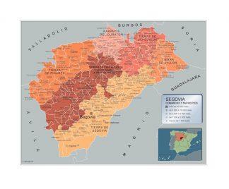 Mapa Segovia por municipios enmarcado plastificado