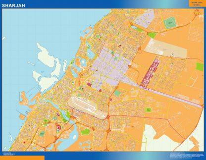 Mapa Sharjah enmarcado plastificado