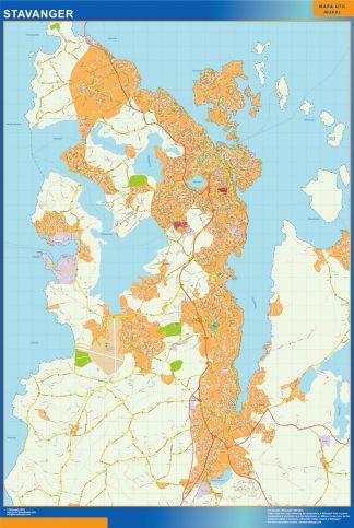 Mapa Stavanger en Noruega enmarcado plastificado