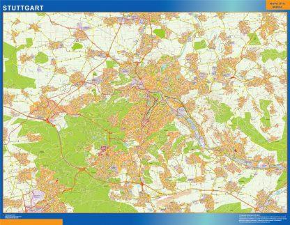Mapa Stuttgart en Alemania enmarcado plastificado