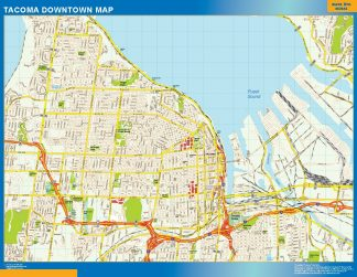 Mapa Tacoma downtown enmarcado plastificado