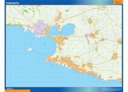 Mapa Taranto enmarcado plastificado