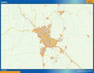 Mapa Tepic en Mexico enmarcado plastificado