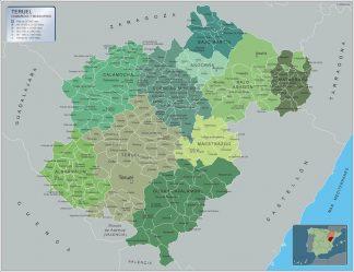 Mapa Teruel por municipios enmarcado plastificado