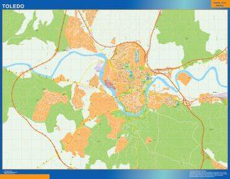 Mapa Toledo callejero enmarcado plastificado