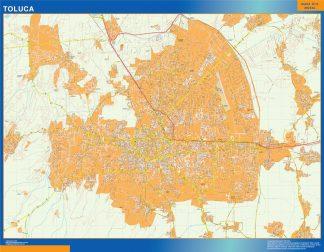 Mapa Toluca Centro en Mexico enmarcado plastificado