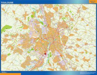 Mapa Toulouse en Francia enmarcado plastificado