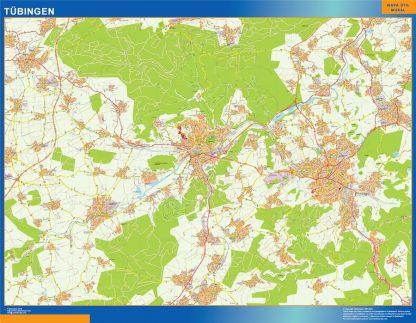 Mapa Tubingen en Alemania enmarcado plastificado