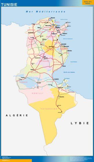Mapa Tunez enmarcado plastificado