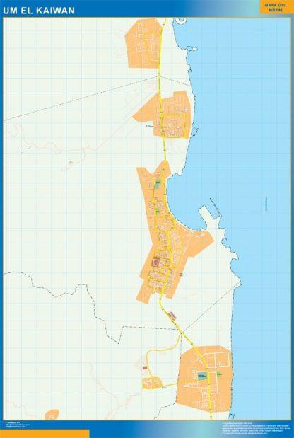 Mapa Um el Kaiwan enmarcado plastificado