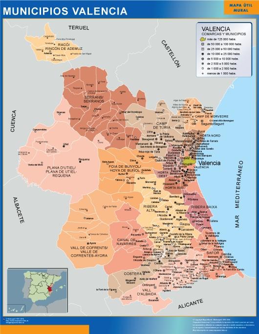 Mapa Provincia Castellon Municipios.Mapa Valencia Por Municipios Vinilo Adhesivo Grande