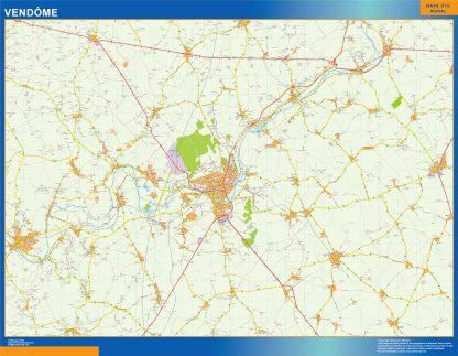 Mapa Vendome en Francia enmarcado plastificado