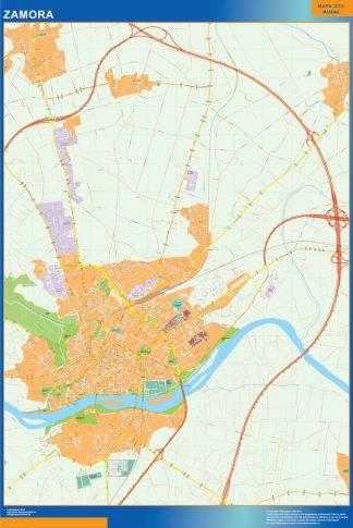 Mapa Zamora callejero enmarcado plastificado
